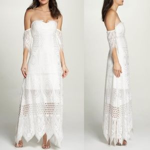 Foxiedox Lace Off The Shoulder Maxi NWOT